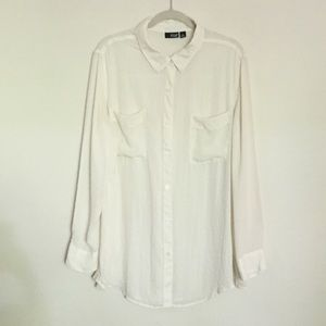 a.n.a Ivory tunic blouse button up XL
